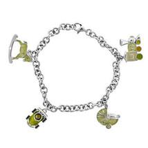 "Ladies Silver Bracelet With Green Enamel Charms 7"" - $98.01"