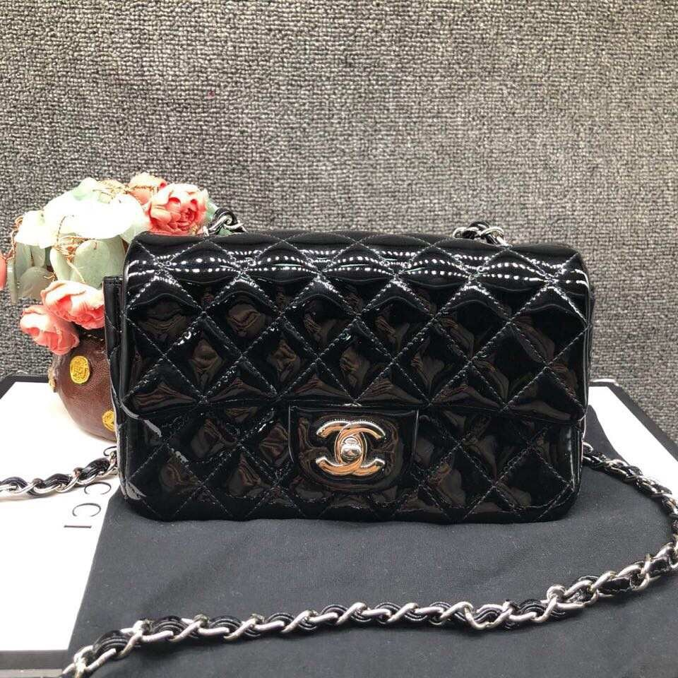 AUTH NEW Chanel BLACK Quilted PATENT LEATHER Large Mini 20CM Flap Bag SHW