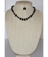 Rondelle and Tubular Onyx Necklace and Earring Set - $33.00