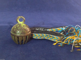 Small Ornate Tibetan Cowbell Cow Bell w/ Colorful Hand-Woven Strap 2.5 x 1.75 #2