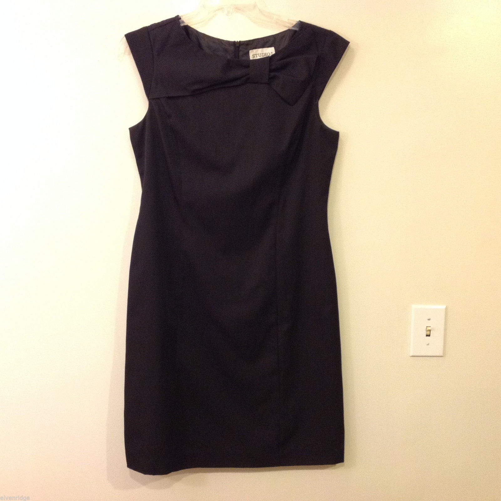 Studio 1, Studio I Women's Size 12 Black Sheath Dress Bow Crew Neck Cap Sleeves