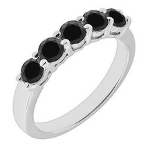 2.25 Carat Black Diamond 5 Stone Wedding Bridal Solitaire Band Ring White Gold - £490.17 GBP