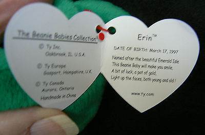 "Ty Original Beanie Baby "" Erin "" Errors New !997 Retired Kept in Display Case image 4"