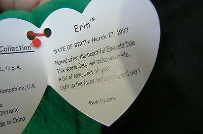 "Ty Original Beanie Baby "" Erin "" Errors New !997 Retired Kept in Display Case image 5"