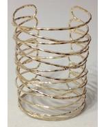 Wire Coil Wrap Armor Cuff Bracelet Designer Style Gold Avant Garde State... - $16.00