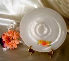 1855 Anchor Hocking Fire King Orange Yellow Daisy Saucer - $3.50