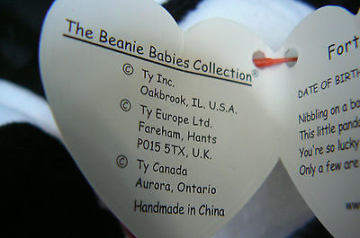"""Ty Original Beanie Baby """" Fortune """" Errors New !997 Retired Kept in Display Case image 10"""