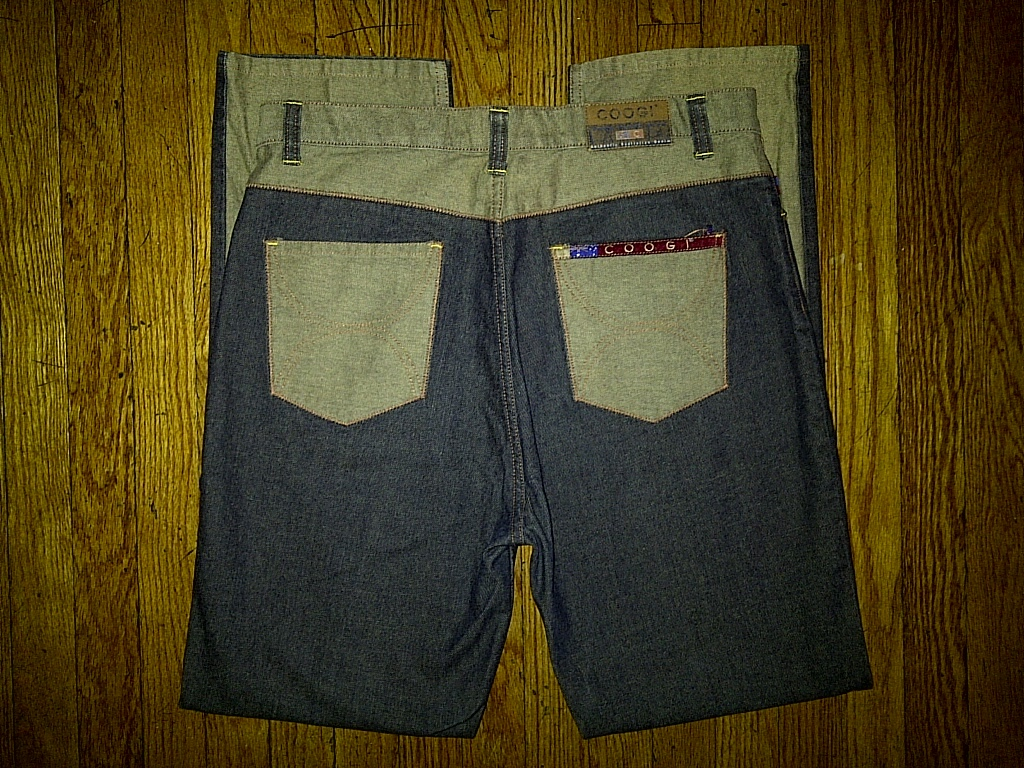 Coogi Australia Down Under Blue Dark Navy Wheat Tan Denim Jeans Pants 36/32