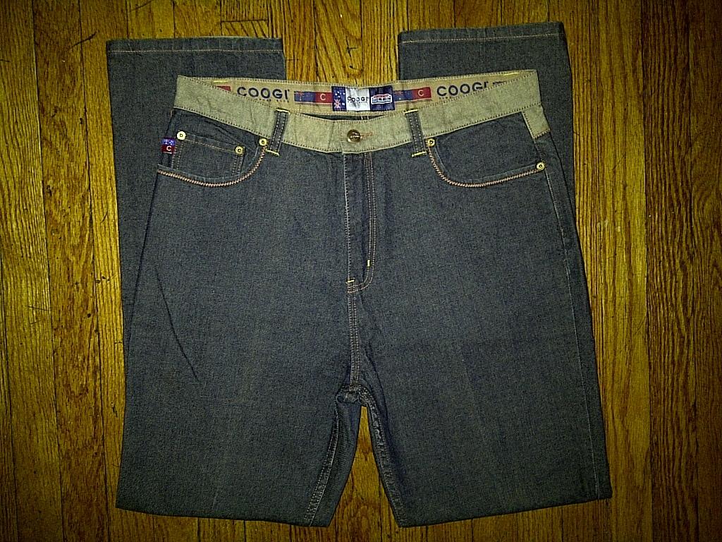 Coogi Australia Down Under Blue Dark Navy Wheat Tan Denim Jeans Pants 36/32