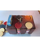 Vintage Wooden Miniature Poker Chip Carrier with over 100 Chips - $18.68