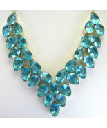 Electric Ice Blue Table-Top faceted Topaz Teardrops Sterling Silver Neck... - $353.00