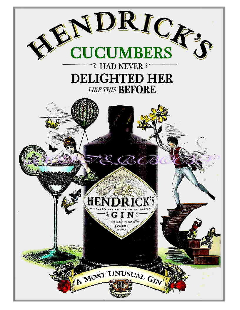 "Hendricks Gin ""Cucumbers"" Advertising 13 x 10 inch Giclee CANVAS Print"