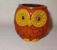 Vintage Owl Round Candle Holder Ceramic Japan Rust Gold Color - Burned -... - $14.73