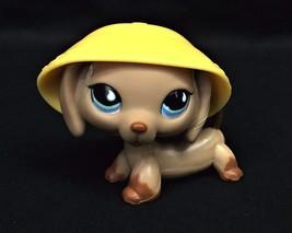 Littlest Pet Shop Puppy Dog Dachshund Tan w/ Blue Teardrop Eyes & Hat #5... - $17.95