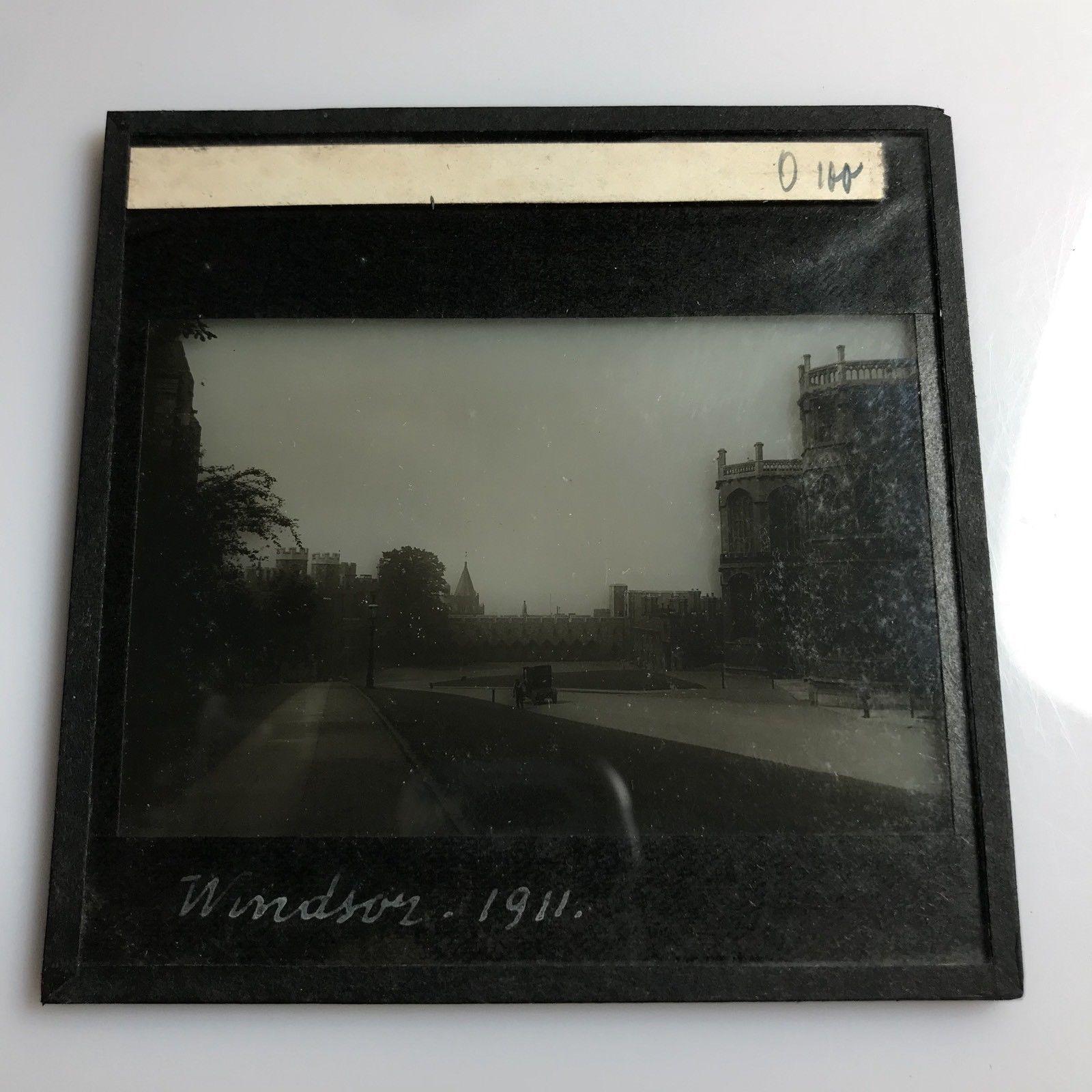 Windsor Castle Dated 1911 Old Car Antique Magic Lantern Glass Slide Photo