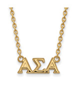 Ss/Gold Plated Sterling Silver With Gp Logoart Alpha Sigma Medium Pend N... - $43.12