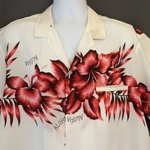 Royal Creations Hawaiian Shirt White with Pink Palms Hibiscus Flowers XL... - $32.82