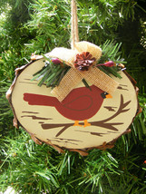 WOOD CARDINAL PLAQUE PINE BRANCH & PINE CONE & HOLLY BERRIES CHRISTMAS O... - $5.88