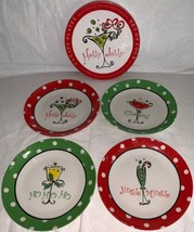 Certified International Holly Jolly Set of 4 Holiday Appetizer/Snack Plates NIB - $24.99