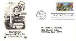 September 7, 1991 First Day of Issue, Postal Society Cover, District of ... - $1.09