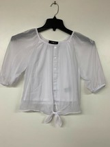 Amy Byer Girl's Picture Perfect Tie-Front Chiffon Top, White, Medium - $11.60