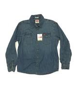 New Wrangler Men's Snap Button Indigo Denim Western Shirt Regular Fit Bl... - $35.99