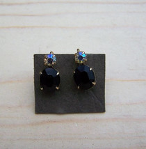 1950's Retro Clip On Earring set, Vintage earing set w/ Rhinestone  - $12.00