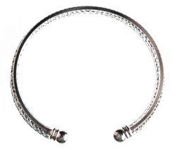 EleQueen Shiny Silver Tone 10-row Austrian Crystal Bangle Cuff Bracelet NWT image 4
