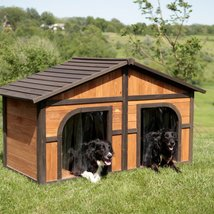 Extra Large Double Dog House Wood Duplex Outdoor Pet Shelter Kennel XL ... - $518.78