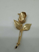 Vintage Gold Plated Rosebud Brooch - $14.00