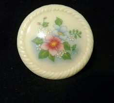 Vtg Avon Floral Painted Flower Garden Circle Brooch Pin Pink and Blue Fl... - $4.99