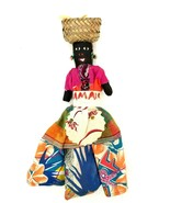 """Vintage 80s JAMAICAN DOLL Hand Made Ebony Colorful Dress 10"""" in Bought J... - $23.36"""