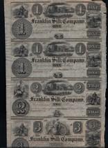 Franklin Silk Company Uncut Sheet $1 $1 $2 $3 Four Unc Rare US Notes - $299.00