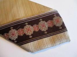"Brown Gold Red Striped Sears The Mens Shop Necktie Tie 55"" Long 3"" Wide 414 - $9.07"