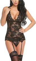 Women's Sexy Backless Lace Babydoll with Garter Sexy Lingerie Set image 2