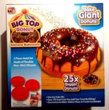 Big Top Donut 3 Pc Non-Stick Silicone Bakeware Set Easy Fill With Idea Book - $13.88