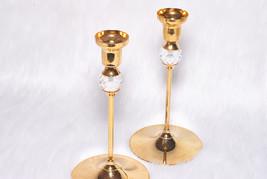 Vintage Collectible Valerio Albarello Gold Plated 24K Swarovski 2 Candle... - $45.00