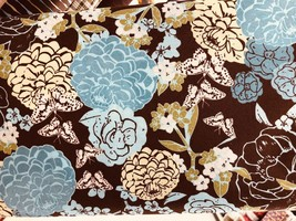 "Brown with Blue Flowers Valance Window Curtain Topper cotton fabric 43""W... - $10.88"