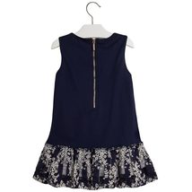 Mayoral Little Girls 2T-9 Floral Embroidered Stripe Lace Social Dress image 2