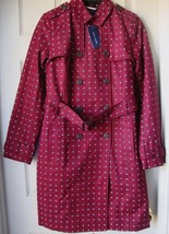 New Tommy Hilfiger Women's Kate Printed Belted Trench Coats Maroon Varie... - $119.99