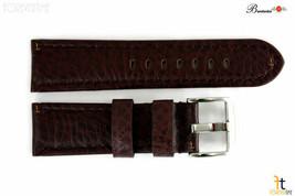 Bandenba 24mm Genuine Dark Brown Textured Leather Panerai Stitched Watch Band - $32.13