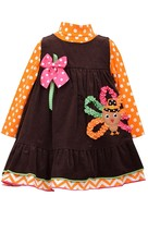 Bonnie Jean Little Girls 2T-4T Brown/Orange Bonaz Turkey Corduroy Jumper Dress