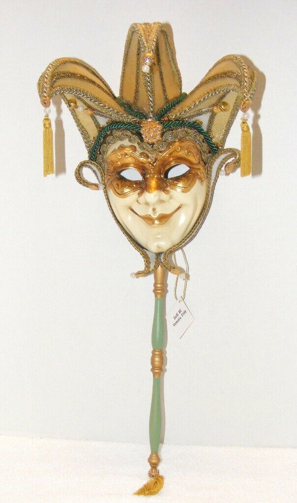 Primary image for ORIGINAL VENETIAN JESTERS MASQUERADE MASK WITH STICK MADE IN ITALY WALL DECO GUC