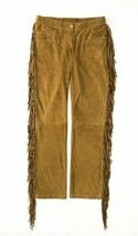 Mens New Native American Fringes Tan Buffalo Suede Leather Hippy Pant P60 - $127.71+