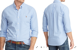 $98 Polo Ralph Lauren Gingham Oxford Sport Shirt, Blue, 3XB - $59.39