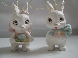 2 SWEET EASTER BUNNY Ornament resin and glitter Holding Colored Eggs rabbits - $23.71