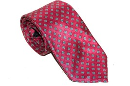 OSCAR DE LA RENTA Red Geometric 100% Silk Classic Skinny Necktie Tie - $13.05