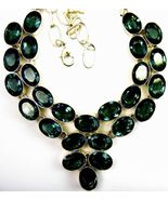 Table-Top Faceted Ovals of Green Moss Amethyst Sterling Silver Collar Ne... - $377.00