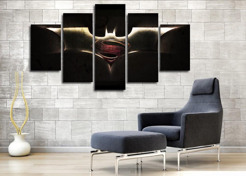 5 Pcs With Framed Printed batman vs superman Painting Wall Ready to Hang Art