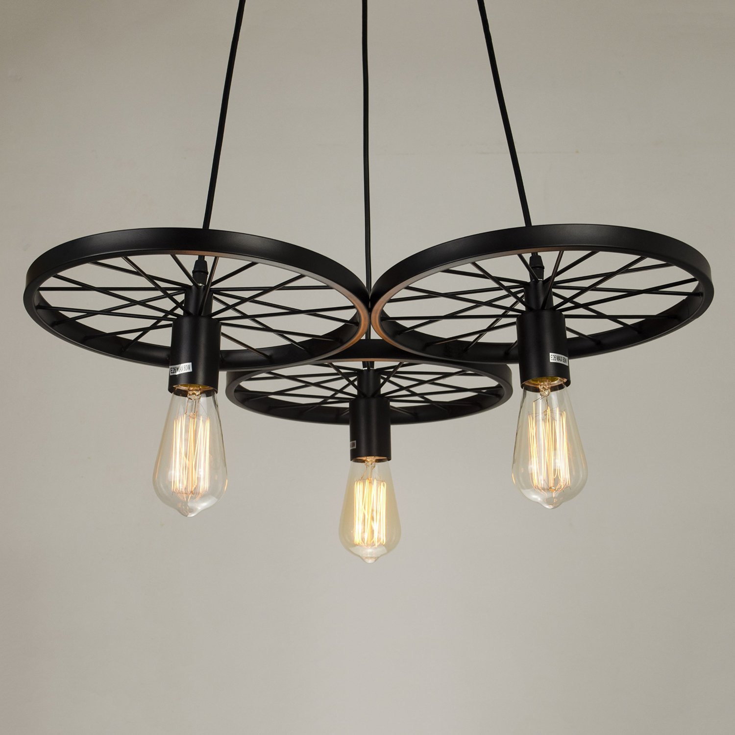 Industrial style pendant light 3 edison bulbs chandelier lighting kitchen pendan chandeliers - Light fixtures chandeliers ...